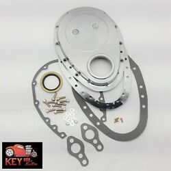 Polished Aluminum 2 Piece Small Block Chevy Timing Chain Cover Kit Sbc 350 400