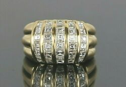 7050 18k Solid Yellow Gold 2.12ct Square Baguette Cut Diamond Cocktail Ring