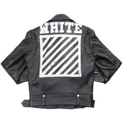 OFF WHITE 16AW BRUSH DIAGONAL LEATHER JACKET BLACK XS