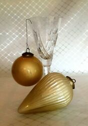 Antique Fine Crackle Glass Two Kugel 6 Large Litchi And Gold Christmas Bulbs