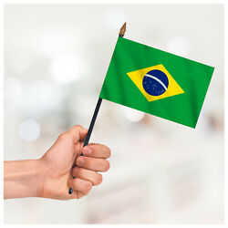 Brazil Country Small Hand Waving Flag Table Deskop Craft Display Hand Held Flag