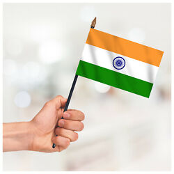 India Country Small Hand Waving Flag Table Desk Craft Display Hand Held Flag