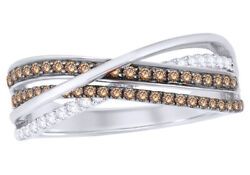 1/2 Ct Champagne And White Natural Diamond Double Row Overlay Ring 10k White Gold