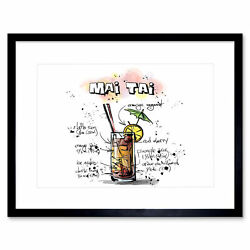Food Drink Painting Alcohol Cocktail Recipe Mai Tai Framed Print 12x16 Inch