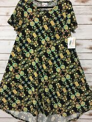 NWT LuLaRoe S Small CARLY Dress Solid Black Yellow Blue Turquoise Floral Cute!!! $11.99