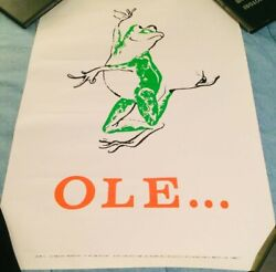 """Vintage """"ole…"""" Old San Juan Puerto Rico Frog Poster Hilary Knight 25 X 17 1/4″"""