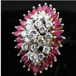 1.16ct Natural Round Diamond Ruby 14k Solid Yellow Gold Cocktail Ring