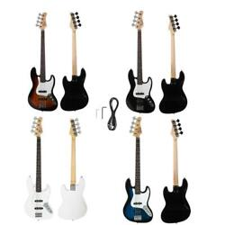 Glarry 5 Color Bass Electric Guitar + Cord + Tool Black Sunset White Dark Blue