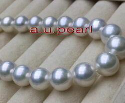 Australia Top 2012-14mm Real South Sea Perfect Round White Pearl Necklace 14k