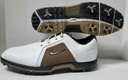 Nike Zoom Trophy Golf Shoes White/brown Ships Free W/buy It Now Rare 12m New