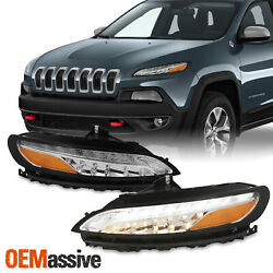 Fit Jeep Cherokee 2014-2018 Drl Running Lights W/ Signal Lamps - Chrome Housing
