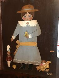 Vintage Primitive Folk Art Original Painting Young Early 1900's Girl And Toys Aafa