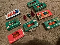 Vintage Assorted Lot Of 35 Indoor- Outdoor C7-1/2 And C-7 Christmas Lamp Bulbs