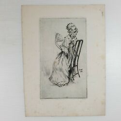 Ernest Stamp Vintage Etching Of A Lady In A Chair Using A Fan Dated 1928