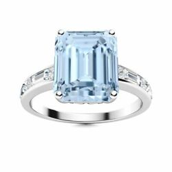 2.40 Ct Natural Vs Diamond Aaa Aquamarine Ring 14k Solid White Gold Womenand039s