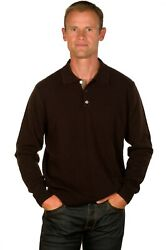 Ugholin Men's 100% Cashmere Solid Brown Knit Polo Sweater