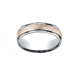 14k Two-toned 6mm Comfort-fit Swirl Finish Design Men's Band Ring Size 9