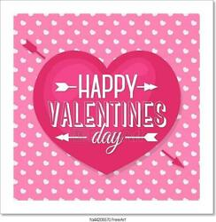Happy Valentines Day Card With Lovely Art Print Home Decor Wall Art Poster - E