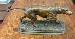 Alfred Dubucand Original French Bronze Casting Of Pointer Hunting Dog, 19th Cent