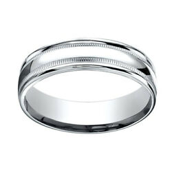 14k White Gold 6mm Comfort-fit High Polished With Milgrain Band Ring Sz-13