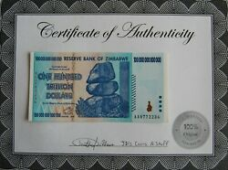 Zimbabwe 100 Trillion W/ Coa Uncirculated Sequential Serial Numbers