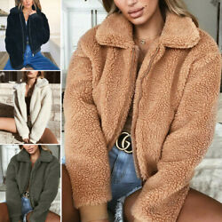 Women Winter Warm Teddy Bear Fluffy Coat Fleece Jacket Zip Up Outerwear Tops