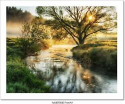 Spring Morning. A Picturesque Foggy Dawn. Art Print Home Decor Wall Art Poster