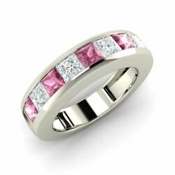 Certified Princess Pink Sapphire And Diamond 14k White Gold Mens Wedding Ring