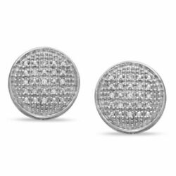Men's Diamond Accent Round Stud Earrings In 14k White Gold Over Sterling Silver