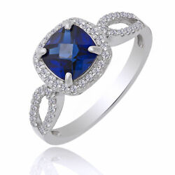 1.57 Ct Square And Cushion Cut Blue And White Sapphire Sterling Silver