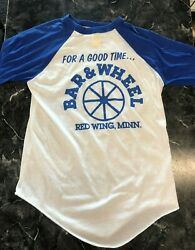 Vintage Bar Baseball T Shirt - Bar And Wheel For A Good Time.. L Red Wing Mn Blue