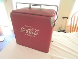 Vintage 50and039s All Metal Coca-cola Picnic Soda Cooler With Tray