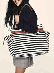 DSW Black & White Striped OVERNIGHTER Tote CARRY-ON Weekender BAG NIP! $45.00