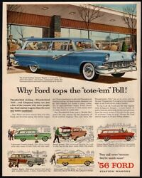 1956 Ford Station Wagon With Thunderbird Styling - 6 Colors - Retro Vintage Ad