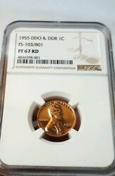 1955 Ddo And Ddr Fs-103/801 Lincoln Wheat Penny Ngc Pf67rd