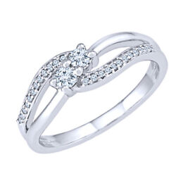 1/5 Ct. Tw. Diamond Two-stone Promise Ring In 10k White Gold Sold Out -igi-