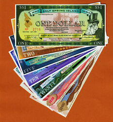Salt Spring Island Canada 2001-2008 Set Of 7 Notes 1 To 100 Unc