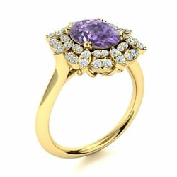 1.94 Cttw Genuine Aaa Iolite And Diamond Vintage Engagement Ring 14k Yellow Gold