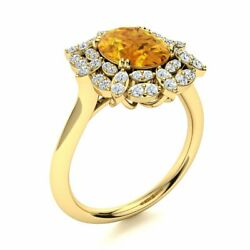 1.94 Cttw Genuine Citrine And Si Diamond Vintage Engagement Ring 14k Yellow Gold
