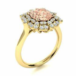 1.94cttw Genuine Aaa Morganite And Diamond Vintage Engagement Ring 14k Yellow Gold