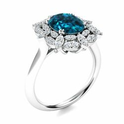 2.6 Cttw Real London Blue Topaz And Diamond Vintage Engagement Ring 14k White Gold