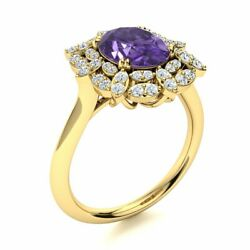 1.94 Cttw Genuine Amethyst And Si Diamond Vintage Engagement Ring 14k Yellow Gold