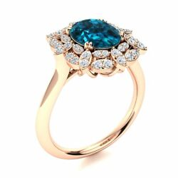 2.6 Cttw Real London Blue Topaz And Diamond Vintage Engagement Ring 14k Rose Gold