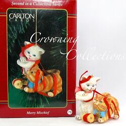 1997 Carlton Cards Merry Mischief Makers Ornament 2nd Cats In Ribbon Second 2