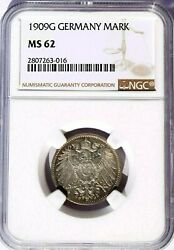 1909 G Germany 1 Mark Ngc Ms 62 Km-14 Krause Catalog 200 In 63