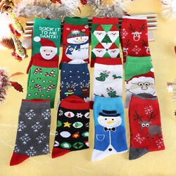 100% Cotton Christmas Fancy Lots Women Kids Cartoon Santa Socks Cute Xmas Gift