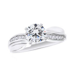 1/7 Ct Round Cut Diamond Semi-mount Solitaire Engagement Ring In 14k White Gold