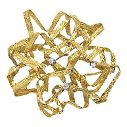 Brooch 14k Yellow Gold Tangled Ribbon Pin Pendant With Diamonds - Vintage
