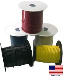 5 Spools 16 Gauge Wire 100 Ft Primary Awg - Red Black White Blue Yellow - Usa