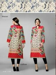 Indian Cotton Kurta Kurti Designer Women Ethnic Dress Top Tunic Pakistani MED
